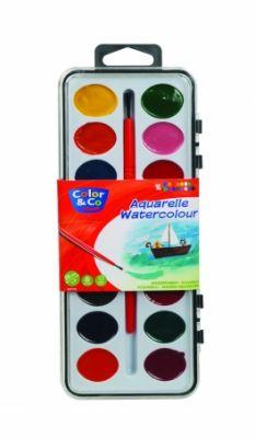 Акварелни бои Color& Co 16 цв. с четка
