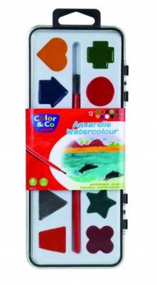 Акварелни боички COLOR&CO 12 цв.четка и формички